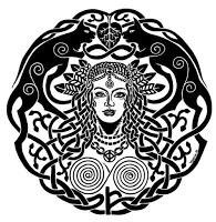 Mandala com a presença de Mardoll, seus gatos (Trygull e Bygull),  o colar mítico e a espiral dupla, simbolo da Tradição Wanen.